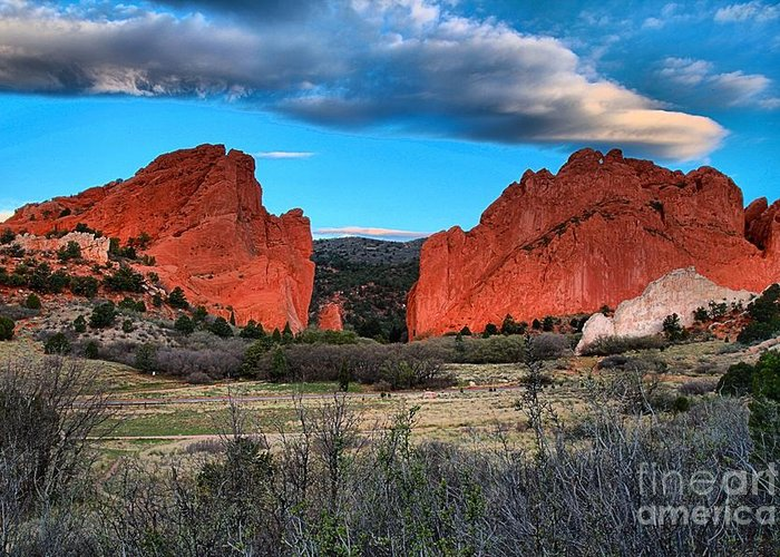 Sunrise At Garden Of The Gods Greeting Card featuring the photograph Red Rocks At Sunrise by Adam Jewell