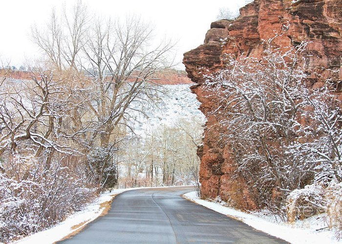 Red Rocks Greeting Card featuring the photograph Red Rocks Winter Landscape Drive by James BO Insogna