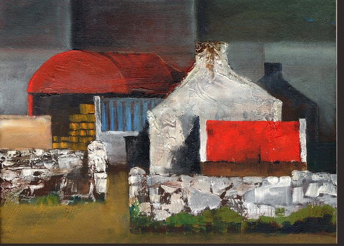 Val Byrne Greeting Card featuring the painting Red Roofs In Clare by Val Byrne