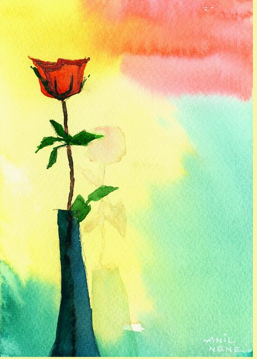 Valentine Greeting Card featuring the painting Red Rose 1 by Anil Nene