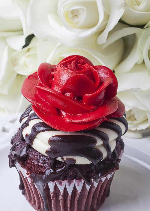 Red Rose Cupcake Greeting Card featuring the photograph Red Rose Cupcake by Garry Gay