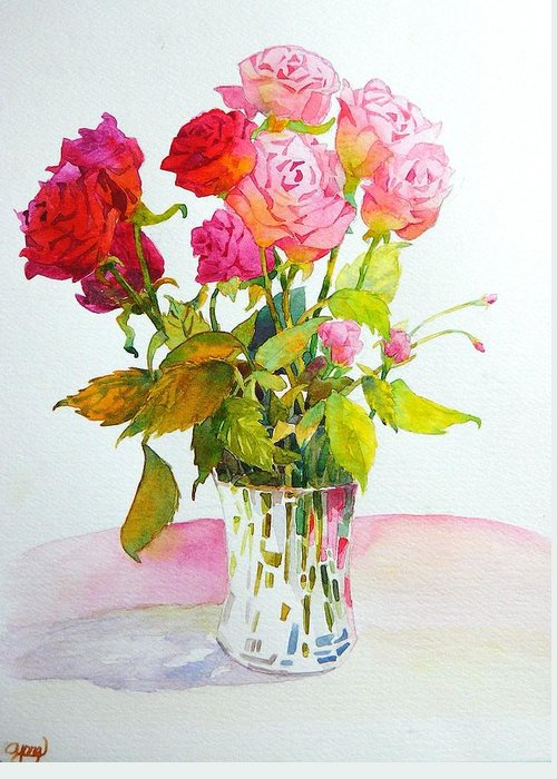 Red Roses Greeting Card featuring the painting Red Roses by Celine K Yong