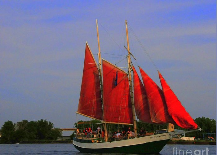 Spirit Greeting Card featuring the photograph Red Sails by Kathleen Struckle