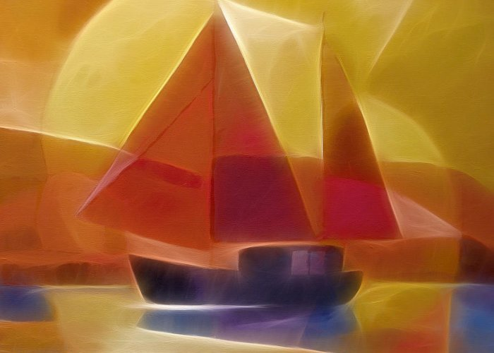 Sailing Greeting Card featuring the digital art Red Sails by Lutz Baar