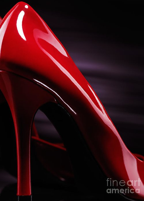 High Heels Greeting Card featuring the photograph Red Sexy High Heels Abstract by Oleksiy Maksymenko