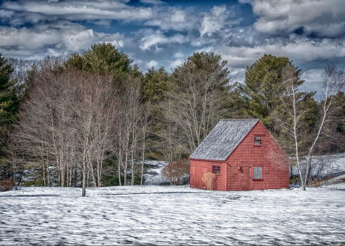 Buildings Greeting Card featuring the photograph Red Shed In Maine by Guy Whiteley