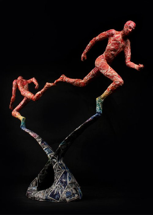 Sculpture Greeting Card featuring the sculpture Red Shift A Science Sculpture By Adam Long by Adam Long