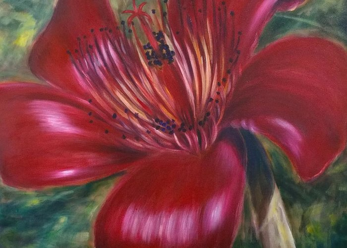 Flower Greeting Card featuring the painting Red Silk Cotten Bombex by Larry Palmer