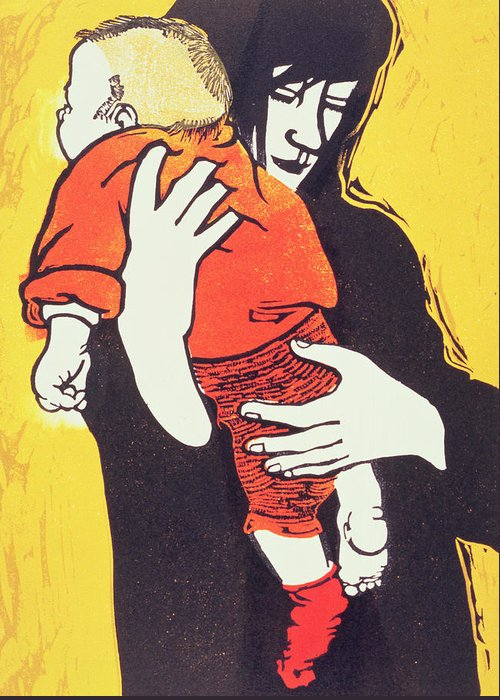 Mother; Child; Embrace; Protection Greeting Card featuring the painting Red Sock by Carol Walklin
