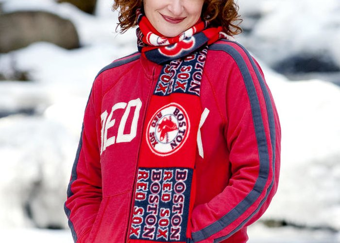 City Greeting Card featuring the photograph Red Sox Girl by Greg Fortier