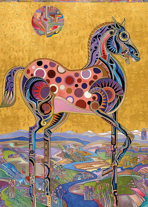 Horse Paintings Greeting Card featuring the painting Red Stallion Overlook by Bob Coonts