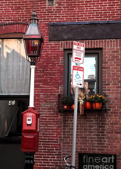 Red In Boston Greeting Card featuring the photograph Red Street In Boston by John Rizzuto