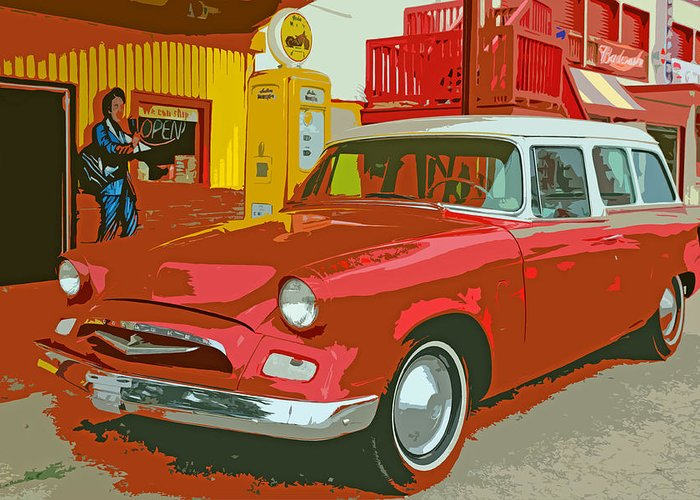 Red Greeting Card featuring the photograph Red Studebaker by Lynn Sprowl