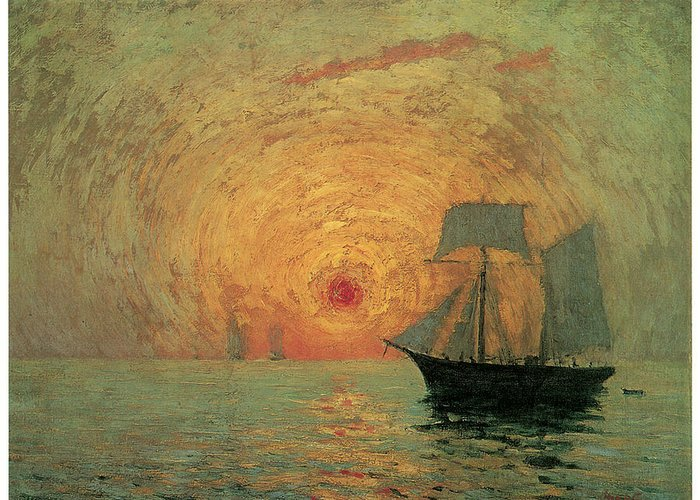 Maxime Maufra Greeting Card featuring the painting Red Sun by Maxime Maufra