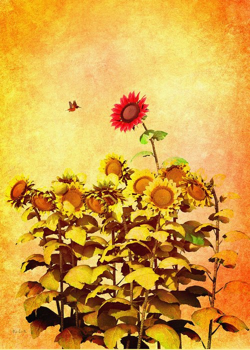 Sunflower Greeting Card featuring the digital art Red Sunflower by Bob Orsillo