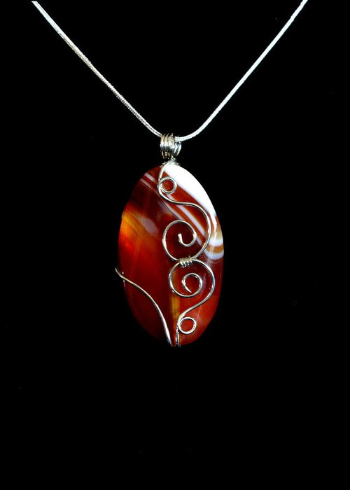 Necklace Greeting Card featuring the jewelry Red Swirl Agate by Jan Brieger-Scranton