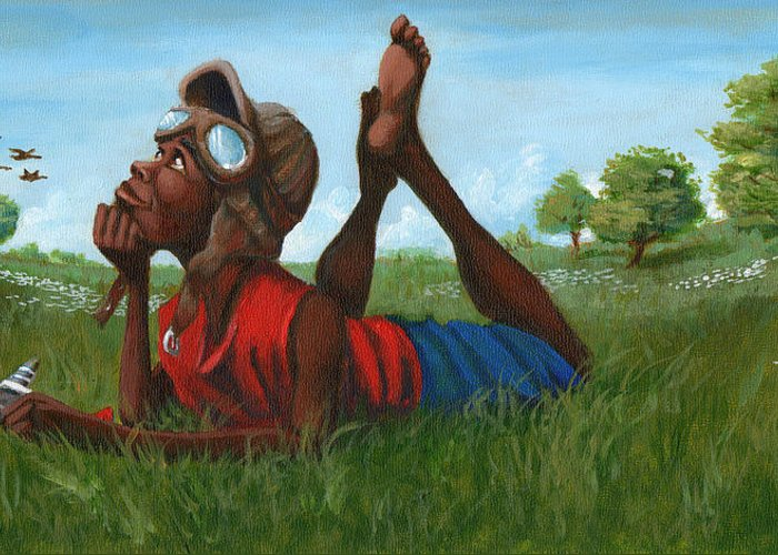 Tuskegee Greeting Card featuring the painting Red Tail Dreamer by Jerome White