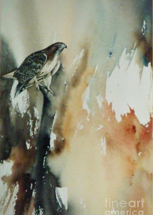 Red Tail Hawk In Snag Greeting Card featuring the painting Red Tail Hawk by Lynne Parker