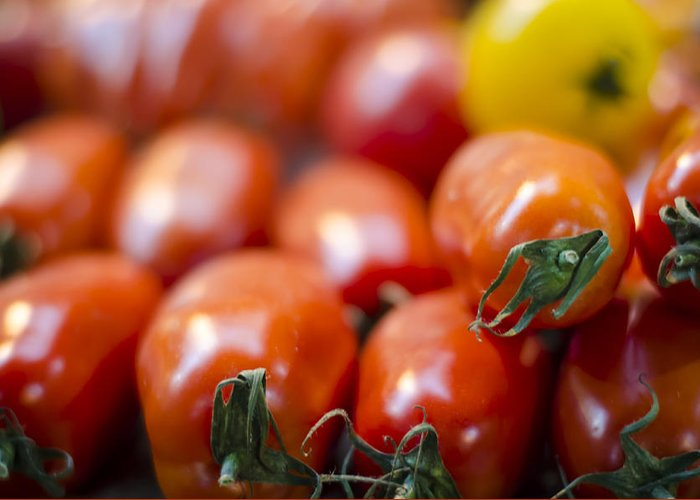 Tomato Greeting Card featuring the photograph Red Tomatoes At The Market by Heather Applegate