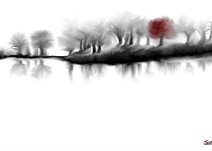 Landscape Art Prints Greeting Card featuring the digital art Red Tree by Jessica Wright