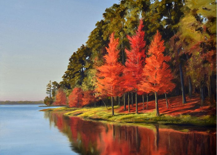 Cypress Greeting Card featuring the painting Red Trees by Jeff Ott