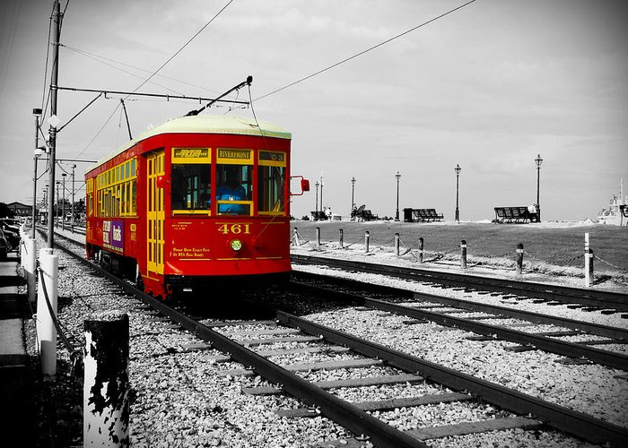 New Orleans Greeting Card featuring the photograph Red Trolley by Richelle Munzon