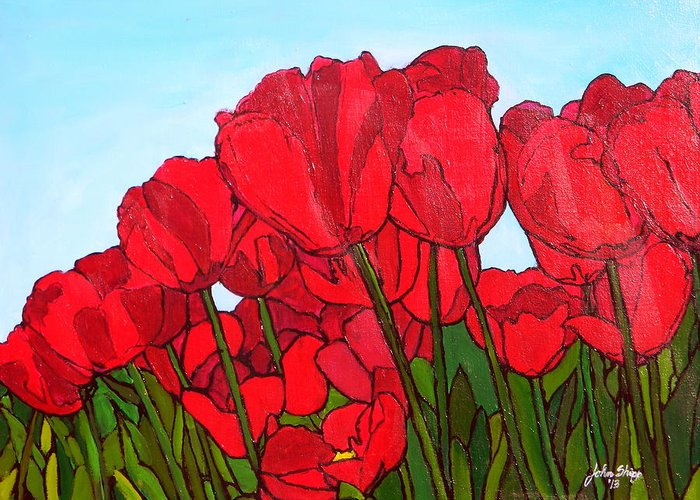 Tulips Greeting Card featuring the painting Red Tulips by John Shipp