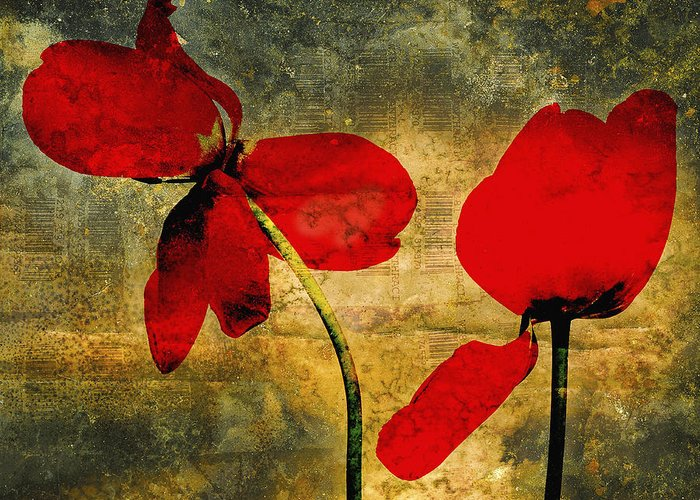 Studio Shot Greeting Card featuring the photograph Red Tulips On A Textured Background by Bernard Jaubert