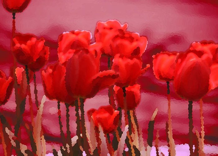 Red Tulips Photo Greeting Card featuring the photograph Red Tulips by Penny Hunt