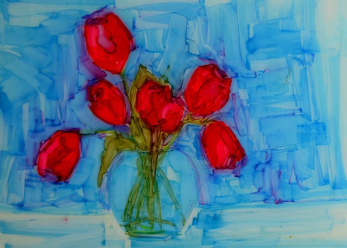 Art Greeting Card featuring the painting Red Tulips With Blue Background by Patricia Awapara