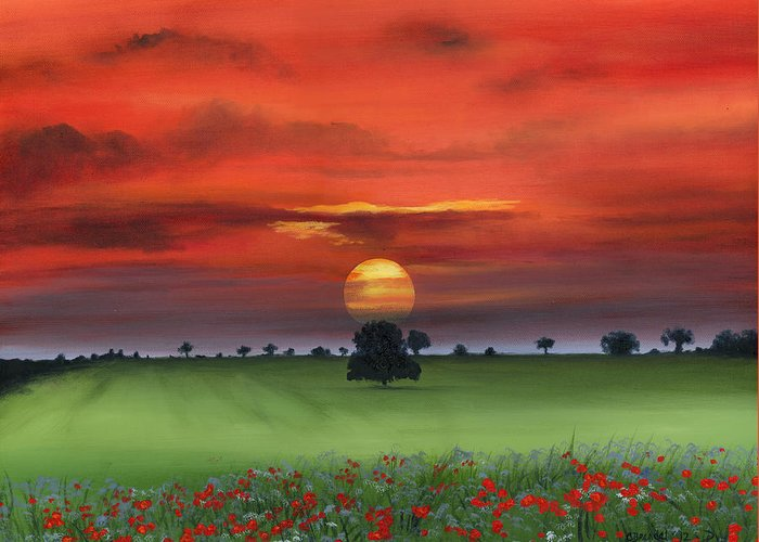 Red Poppies Poppy Field Floral Flowers Flower Tuscan Italy Art Oil Painting Original Canvas Cecilia Brendel Sunrise Sunset Beautiful Sun Trees Landscape Clouds Greeting Card featuring the painting Red Tuscan Sunrise With Poppy Field by Cecilia Brendel