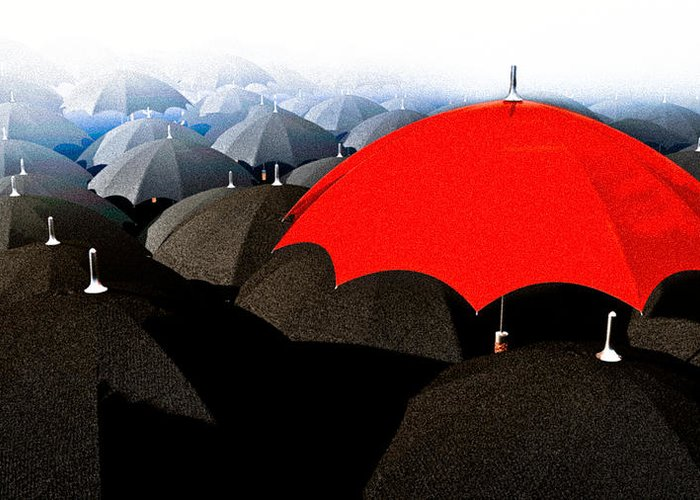 Umbrella Greeting Card featuring the digital art Red Umbrella In The City by Bob Orsillo