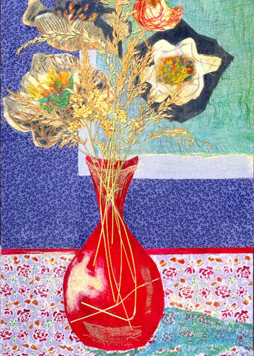 Flowers In A Vase Greeting Card featuring the mixed media Red Vase I by Diane Fine