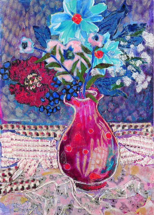 Flowers In A Vase Greeting Card featuring the mixed media Red Vase IIi by Diane Fine