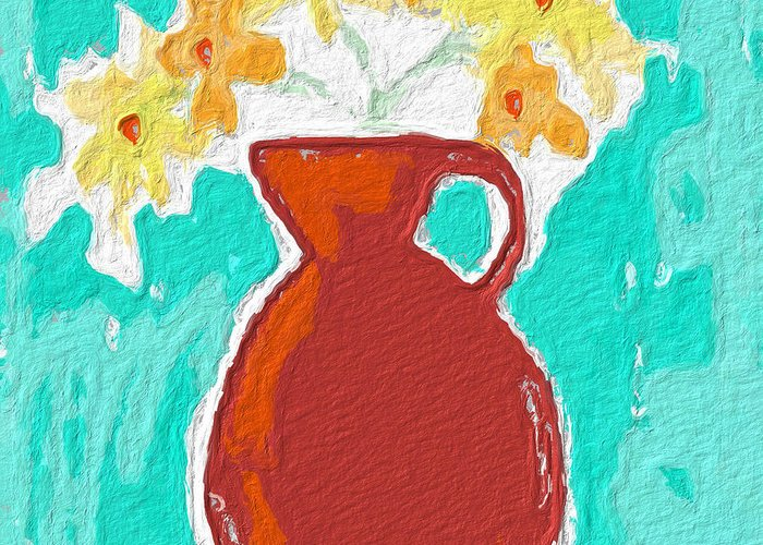 Flowers Greeting Card featuring the painting Red Vase Of Flowers by Linda Woods