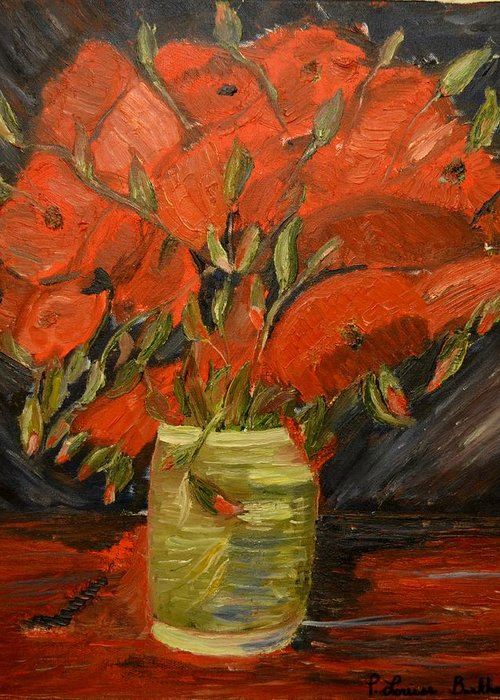 Flowers Greeting Card featuring the painting Red Velvet by Louise Burkhardt