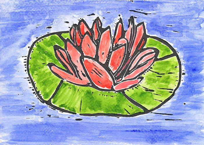 Nature Greeting Card featuring the mixed media Red Waterlily by Lynn-Marie Gildersleeve