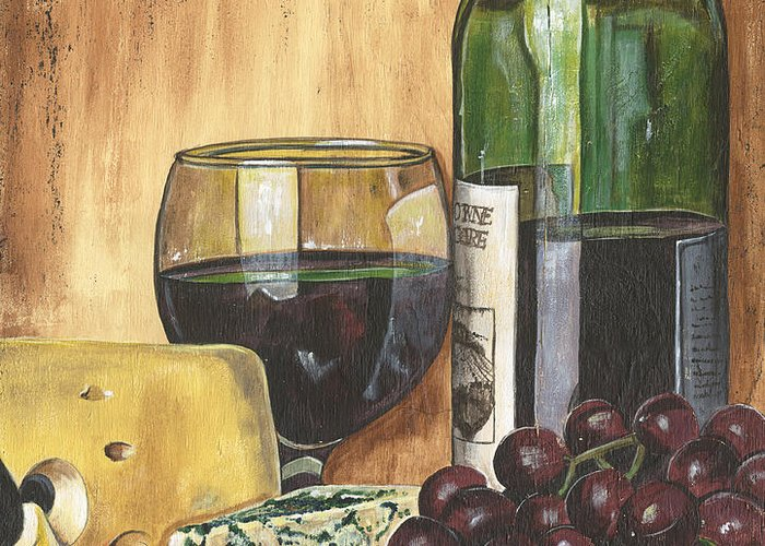 Red Wine Greeting Card featuring the painting Red Wine And Cheese by Debbie DeWitt