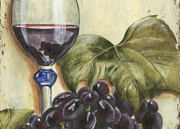 Wine Greeting Card featuring the painting Red Wine And Grape Leaf by Debbie DeWitt