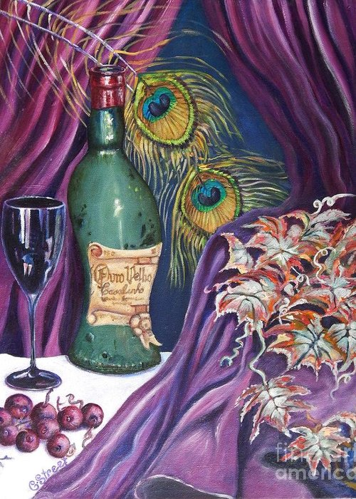 Still-life Greeting Card featuring the painting Red Wine And Peacock Feathers by Caroline Street