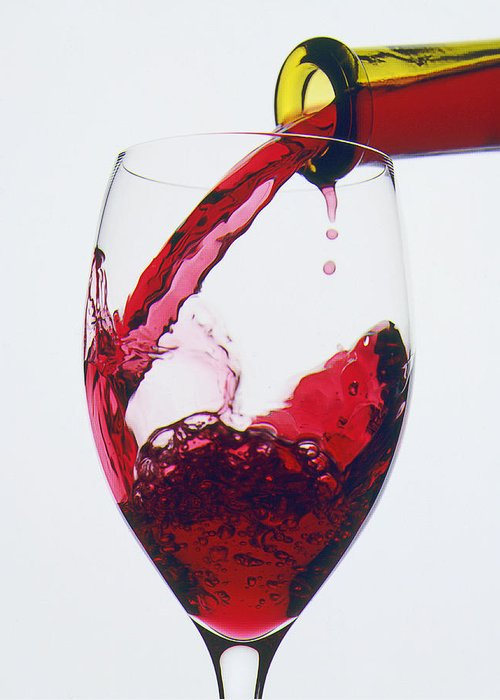 Red Greeting Card featuring the photograph Red Wine Being Poured by Garry Gay