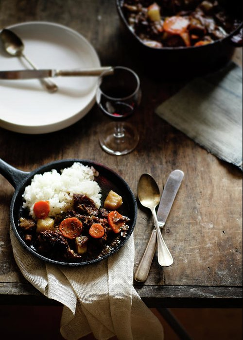 Spoon Greeting Card featuring the photograph Red Wine Braised Beef by 200