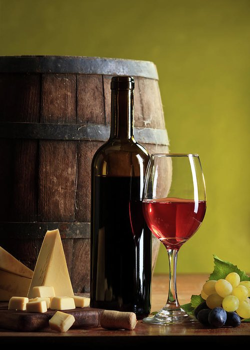Cheese Greeting Card featuring the photograph Red Wine Composition by Valentinrussanov