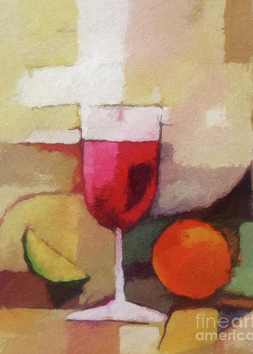 Still Life Greeting Card featuring the painting Red Wine by Lutz Baar