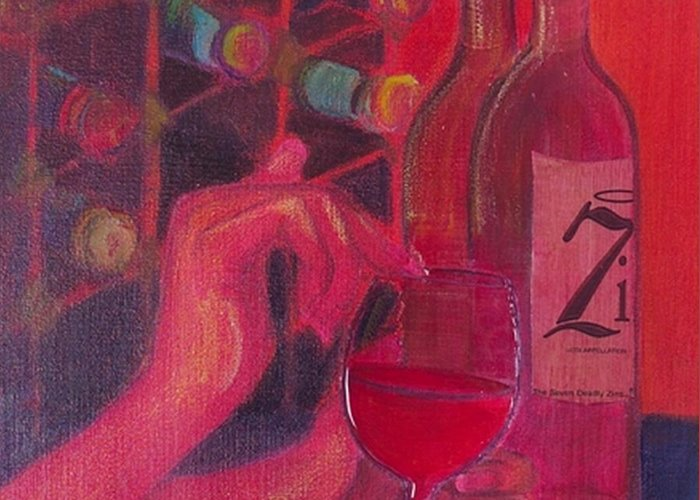 Wine Greeting Card featuring the painting Red Wine Room by Debi Starr