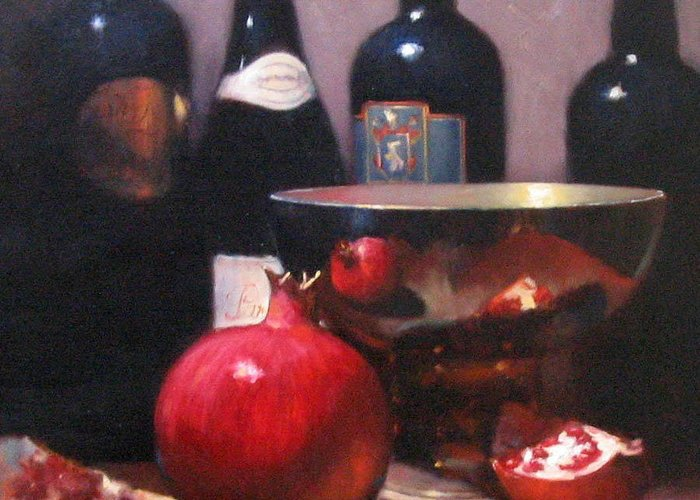 Wine Still Life Greeting Card featuring the painting Red Wine With Pomegranates by Takayuki Harada