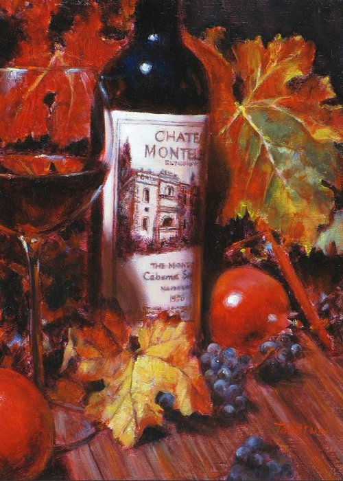 Wine Still Life Greeting Card featuring the painting Red Wine With Red Pomergranates by Takayuki Harada