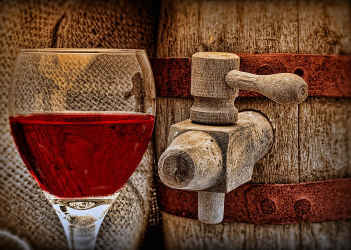 Aged Greeting Card featuring the photograph Red Wine With Tapped Keg by Tom Mc Nemar