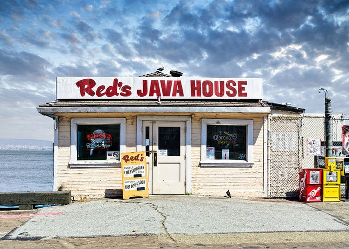 Alternate Process Greeting Card featuring the photograph Red's Java House by Tim Fleming