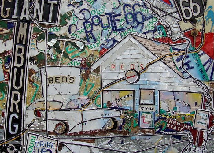 Route 66 Greeting Card featuring the mixed media Reds Route 66 Giant Hamburg by Phil Jackson